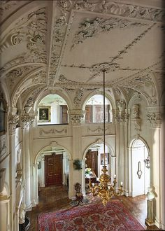Baroque entrance hall Althea Dundas-Bekker Scottish country house by architect William Adam. It took German craftman Josef Enzer six years to complete the plastering. Image from The Scottish Country House by James Knox.