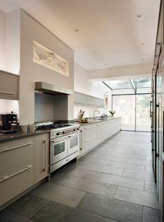 Harvey Jones Linear kitchen painted in Zoffany 'Silver' Farmhouse Kitchen Decor, Kitchen Cabinet Design, Kitchen Tiles Design, Kitchen Decor, Dining Room Design, Kitchen Remodel, Kitchen Design Small, Kitchen Design, Kitchen Design Color