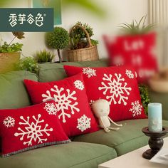 Christmas Pillow Case Cotton Linen X'mas Cushion by LuEmbroidery, $19.99