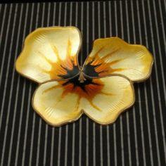 Pansy Pin Vintage Sterling Silver Enamel David Andersen Norway Flower Brooch