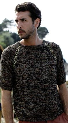 Men's short sleeved sweater in Rowan Tetra Cotton