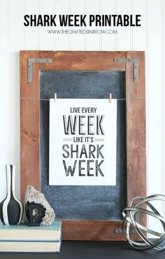 Celebrate the most anticipated week in television with this fun free Shark Week Printable. Hang it, frame it, or give it as a gift to any Shark Week fan. Shark Week, Printable Labels, Free Printables, Shark Facts, Typography Love, Lettering, Frame It, Diy Wall Art, Lower Case Letters