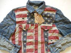9fc13dda45 Ralph Lauren Denim and Supply Faded Flag Patch Denim Jacket Slim Fit XL  Denim Jacket Patches