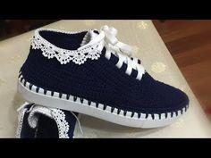 Diy Crafts - Lace Model Sports Shoe Making / Mesh Shoe Making / Knitting Shoes - Crochet Boot Cuffs, Crochet Boots, Crochet Slippers, Knitting Socks, Crochet Shoes Pattern, Shoe Pattern, Narrow Shoes, Knit Shoes, Fall Shoes