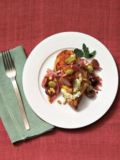 Chicken with Grapes, Goat Cheese and Pine Nuts #recipes