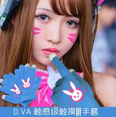 Dva Overwatch D.Va Cosplay Casual Harajuku Luminous Touch Screen Gloves Gift Hot