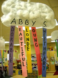 Acrostic Poems - Parents choose an adjective for each letter of their child's name. Stuff the cloud/rainbow and hang it from ceiling. I love this idea for Meet The Teacher Night, or Parent Teacher Conferences. Name Activities, Teaching Activities, Classroom Activities, Spring Art Projects, Projects For Kids, Spring Crafts, Back To School Night, Parent Teacher Conferences, Classroom Crafts