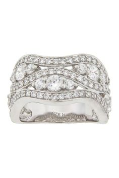 Sterling Silver CZ Cocktail Ring Band