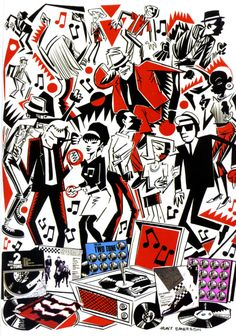 Two Tone Hunt Emerson art illustration ska music Two Tone Ska Punk, Skinhead Reggae, Skinhead Girl, Skinhead Fashion, Illustrations, Illustration Art, Genre Musical, Techno, Ska Music