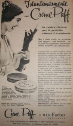 """www.piziarte.net La pubblicità negli anni 50 """"CREME PAFF"""" dalla rivista settimanale """"Il Tempo"""" 1954."""