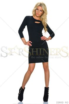 Closed Doors Black Dress, cut-out bust design, long sleeves, form-fitting, elastic fabric Club Style, Black Long Sleeve Dress, Fall Trends, Clothing Items, Beautiful Outfits, Coat, Casual, Sleeves, How To Wear