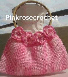 pink rose crochet bag