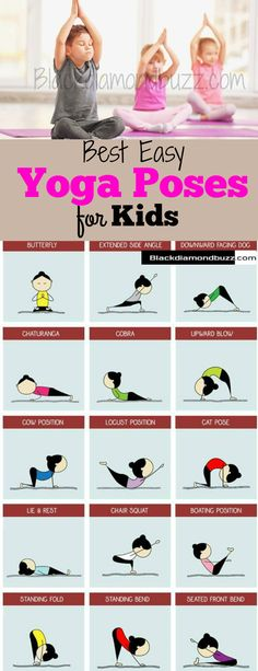 Yoga is the best healthy practices you can introduce to your kids. Because you yoga is safe and loaded with health benefits for you and kids. You can start from these easy yoga poses for kids and…MoreMore Kids Yoga Poses, Easy Yoga Poses, Kid Poses, Yoga For Kids, Exercise For Kids, Children Poses, Yoga Beginners, Yoga For Beginners Flexibility, Flexibility Exercises