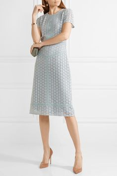 Burberry - Guipure Lace Midi Dress - Sky blue