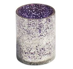 "Fainting Lights! - #Buy #Wholesale #Handmade  3.6"" #Tealight #CandleHolder In #Crackled #Glass Effect With Silver & Purple Coloring"