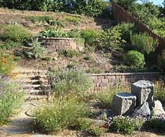 Landscaping Steep Slope -Create a curved pathway or paved steps going up the steep hill for access Steep Hillside Landscaping, Landscaping On A Hill, Hillside Garden, Landscaping Ideas, Sloping Backyard, Hill Garden, Backyard Ideas, Back Gardens, Outdoor Gardens