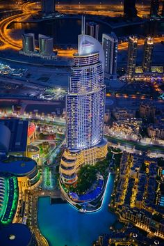BEAUTIFUL capture of the The Address Downtown Dubai at Night, as seen from the observation deck of Burj Khalifa. Photograph by © Olaf Dziallas, architectural photographer from Frankfurt.