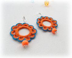 Crochet ganchillo pendientes perlas pendientes por CraftsbySigita