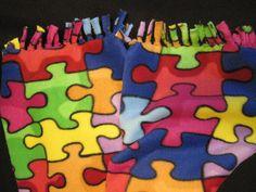 Autism Logo Puzzle Pieces Fleece Scarf by CutnTiedbyRedYvette, $6.00