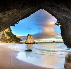 Beautiful soothing place .... peaceful, gentle colours ...  Just looking at soothes the Soul ... ♥    Cathedral Cove, New Zealand.