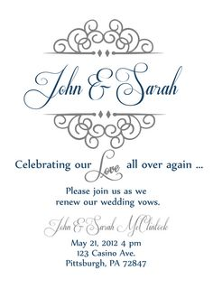 Vow renewal invite