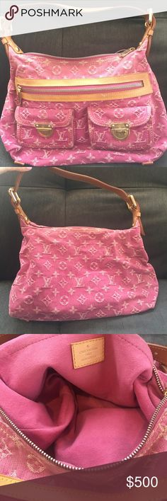 """Louis Vuitton pink denim jean """"baggy denim PM"""" Beautiful pink jean Louis Vuitton denim Handbag purse. With two zippers, one on front pocket and two smaller front pockets! Shoulder purse. Good condition called """"baggy denim pm"""" Louis Vuitton Bags"""