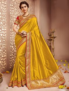 329bb9a5bc65b4 Yellow embroidered shachi silk saree with blouse available at Mirraw.com  Golden Red, Party