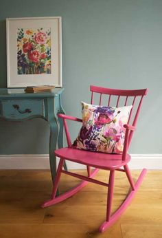 Modern and abstract floral bedding, cushions & home accessories. Bluebellgray now ship worldwide. Pink Rocking Chair, Nursery Chair, Cushion Design, Pink Chair, Bedroom Color Schemes, Annie Sloan Furniture, Spring Home Decor, Painted Chair, Bluebellgray