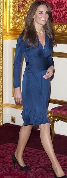 Kate Middleton at official announcement of engagement November 16, 2010. Wearing the now famous Issa dress.