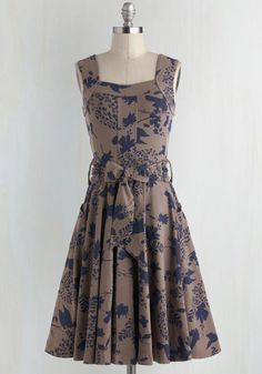 Guest of Honor Dress in Leaves by Effie's Heart - Blue, Floral, Pockets, Sleeveless, Tank top (2 thick straps), Best Seller, Belted, Fall, Full-Size Run, Long, Tan, Fit & Flare, Knit, Better, Cotton, Top Rated, Daytime Party