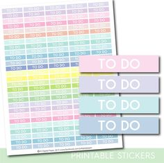 Printable To do stickers in pastel colors, To do header stickers, STI-1078