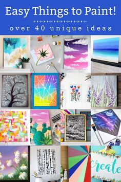 If you're looking for easy things to paint, grab these canvas ideas for beginners. All of these are achievable for the newbie artist. Diy Father's Day Crafts, Fathers Day Crafts, Homemade Crafts, Kids Crafts, Easy Crafts, Wall Art Crafts, Diy Wall Art, Easy Watercolor, Watercolor Flowers
