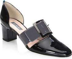 "SJP by Sarah Jessica Parker Women's Shoes in Black Color. Featuring d'Orsay sandals with classic glossy design. Heel, 2.5"" (60mm).Patent leather upper. Almond toe. Buckle closure. Leather lining and sole. Made in Italy."