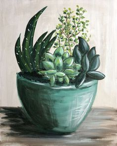 Browse our upcoming painting classes and events at Memorial City Pinot's Palette! Reserve your seat for the best paint and sip experience today! Succulents Drawing, Succulents Diy, Succulents Painting, Paint And Sip, Cactus Art, Plant Art, Step By Step Painting, Cool Paintings, Diy Painting