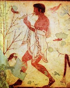 Anonymous, probably Greek  Flute Players  480—450 ВC   Fresco  From the Tomba del Triclinio  Museo Nazionale, Tarqumia, Italy