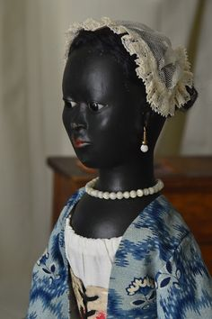 """Reproduction Antique Queen Anne Dolls and Izannah Walker Dolls : Negra """" Antonia """" in the Style of Queen Anne Doll...."""