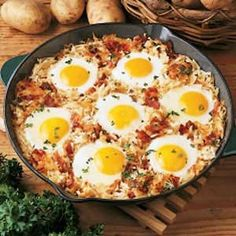 Skillet breakfast: The Recipe - Cook onions and bacon in a skillet, add hashbrowns and cook until brown. Dig out a little hole for each egg, crack them into the hole. Cover and cook until eggs are done.