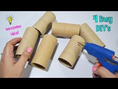 4 Ways To ReUse/Recycle Empty Tissue Roll Tissue Roll Crafts, Toilet Paper Roll Crafts, Cardboard Crafts, Diy Paper, Paper Crafts, Diy Crafts, Cardboard Rolls, Reuse Recycle, Recycling