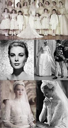 Wedding Day Dreams Grace Kelly and Rainier III, Prince of Monaco 18 April 1956 There's been a lot of comparisons between Kate Middleton's dress and Grace Kelly's, particularly the bodice. They're both beautiful, timeless dresses. Grace Kelly Mode, Grace Kelly Wedding, Grace Kelly Style, Princess Wedding Dresses, Wedding Gowns, Wedding Day, Cinderella Wedding, Modest Wedding, Royal Brides