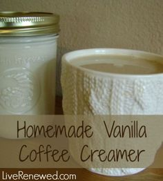 Homemade Vanilla Coffee Creamer - so easy, and so much better than the conventional, store-bought kind! Making your own homemade vanilla coffee creamer using real foods and avoiding the nasty ingredients in conventional store bought creamers. Vanilla Coffee Creamer, Homemade Coffee Creamer, Quotes Pink, Yummy Drinks, Yummy Food, Whole Food Recipes, Cooking Recipes, Pots, Homemade Vanilla