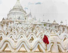 Hsinbyumae Buddhist pagoda in Mingun, Myanmar, Photo by Tom Cheatham