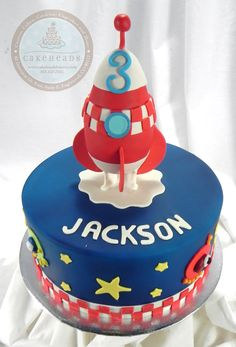 Rocketship Birthday Cake Rocket Birthday Parties, Rocket Cake, Planet Cake, Wedding Cake Bakery, Thomas Cakes, Snowman Cake, Beautiful Birthday Cakes, Cute Cakes, Celebration Cakes