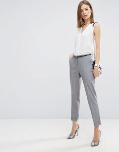 ASOS The Slim Tailored Cigarette Pants With Belt - Gray