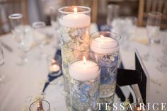 """Beautiful Trio Set of Glass Cylinders (10.5"""" x 7"""" x 6"""")  - Photo with submerged hydrangea and floating candle! Beautiful!"""