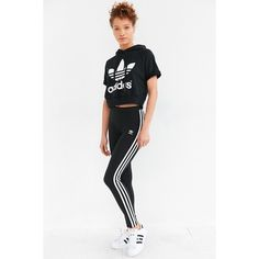 adidas Originals 3 Stripes Legging ($30) ❤ liked on Polyvore featuring pants, leggings, black, adidas trousers, striped trousers, adidas leggings, striped leggings and striped pants