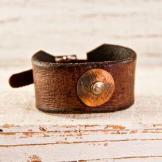 Men's Jewelry Leather Buckle Cuff Bracelet by rainwheel, $55.00