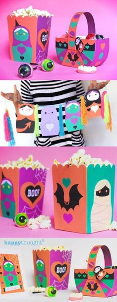 Spooky cute Halloween party printable decorations! We've put together this adorable party pack for the upcoming Halloween Holiday featuring fun and easy printable party templates to make at home or in class. The printable pack contains templates for: cupcake wrappers and toppers, posters, garlands, popcorn boxes, candy baskets, table ornaments and place card templates. FREE FOR HAPPYTHOUGHT MEMBERS! Spooky Halloween, Halloween Crafts, Halloween Party, Fun Crafts, Paper Crafts, Place Card Template, Diy Garland, Diy Halloween Decorations, Party Packs