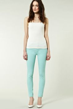 Obsessed with mint green jeans.  Must buy some!