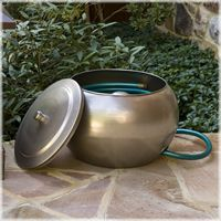 I love this because it is beautiful, and hides my ugly hose! It is also nice because it has a removable lid! CobraCo® Moderne Steel Hose Holder and Lid Set www.avantgardende...