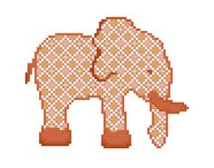 Baby Elephant in orange – A set of three Cross Stitch Patterns in PDF